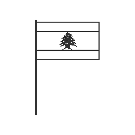 Lebanon flag icon in black outline flat design. Independence day or National day holiday concept.