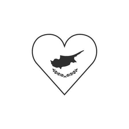 Cyprus flag icon in a heart shape in black outline flat design. Independence day or National day holiday concept. Archivio Fotografico - 125384081