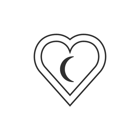 Maldives flag icon in a heart shape in black outline flat design. Independence day or National day holiday concept.  イラスト・ベクター素材