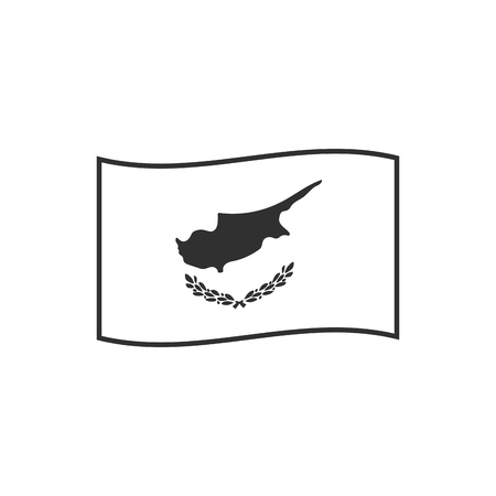 Cyprus flag icon in black outline flat design. Independence day or National day holiday concept.