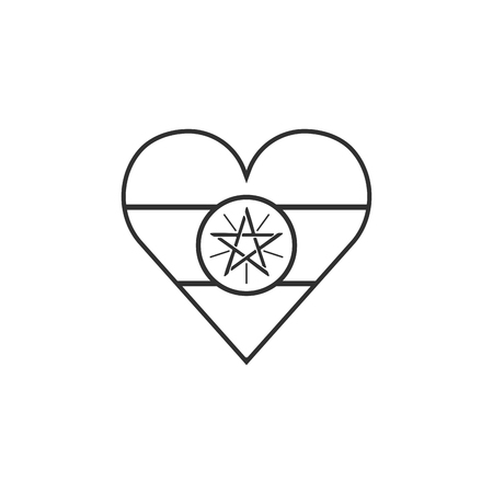 Ethiopia flag icon in a heart shape in black outline flat design. Independence day or National day holiday concept. Vettoriali