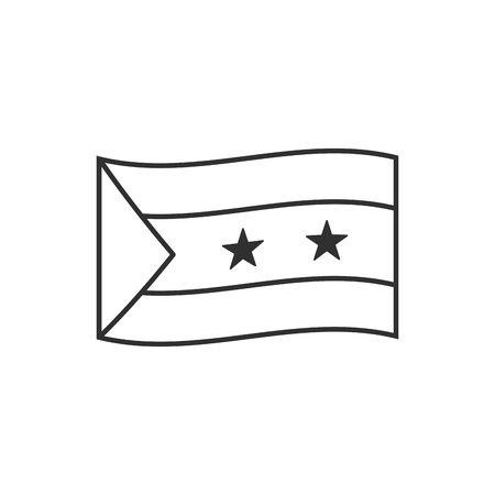 Sao Tome and Principe flag icon in black outline flat design. Independence day or National day holiday concept.