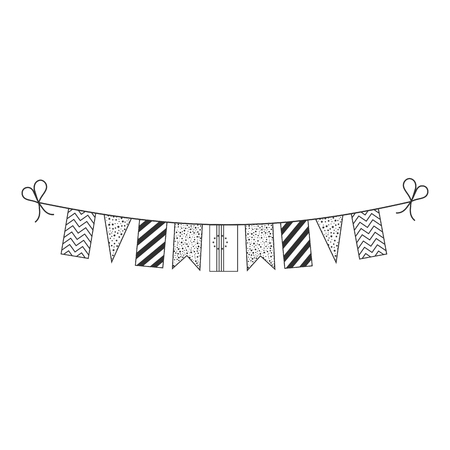 Decorations bunting flags for Cape Verde national day holiday in black outline flat design. Independence day or National day holiday concept. Illustration