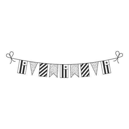 Decorations bunting flags for Togo national day holiday in black outline flat design. Independence day or National day holiday concept.