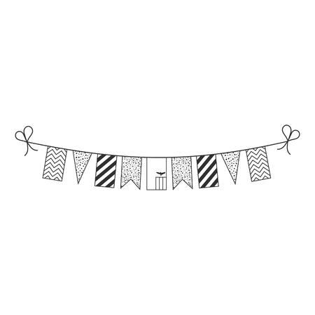 Decorations bunting flags for Zambia national day holiday in black outline flat design. Independence day or National day holiday concept.