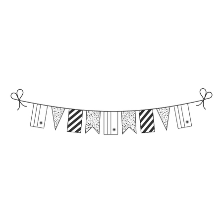 Decorations bunting flags for Rwanda national day holiday in black outline flat design. Independence day or National day holiday concept.