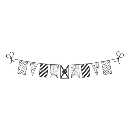 Decorations bunting flags for Burundi national day holiday in black outline flat design. Independence day or National day holiday concept.