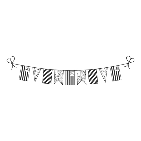Decorations bunting flags for Ambazonia national day holiday in black outline flat design. Independence day or National day holiday concept. Illustration