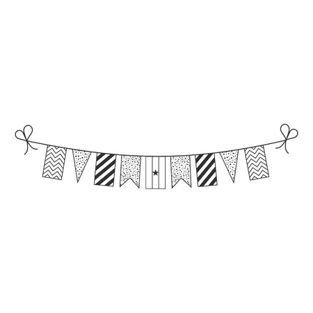 Decorations bunting flags for Ghana national day holiday in black outline flat design. Independence day or National day holiday concept. Illustration
