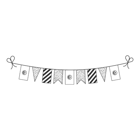 Decorations bunting flags for Tunisia national day holiday in black outline flat design. Independence day or National day holiday concept. Illustration