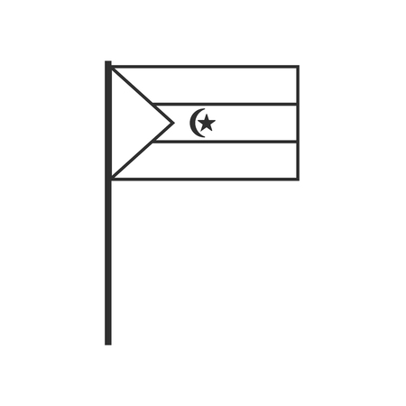 Western Sahara flag icon in black outline flat design. Independence day or National day holiday concept.
