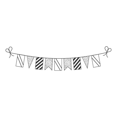 Decorations bunting flags for Tanzania national day holiday in black outline flat design. Independence day or National day holiday concept.