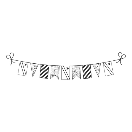 Decorations bunting flags for Democratic Republic of the Congo national day holiday in black outline flat design. Independence day or National day holiday concept. Illustration