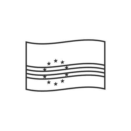 Cape Verde flag icon in black outline flat design. Independence day or National day holiday concept. Vectores