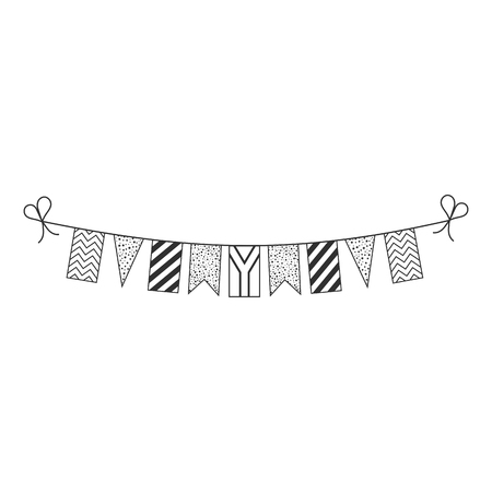 Decorations bunting flags for South Africa national day holiday in black outline flat design. Independence day or National day holiday concept. Illustration