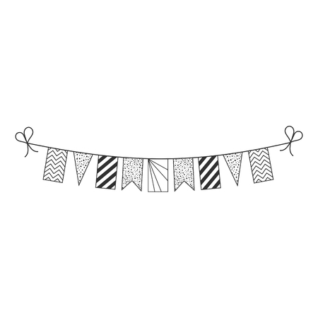 Decorations bunting flags for Seychelles national day holiday in black outline flat design. Independence day or National day holiday concept.