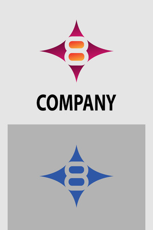 number eight: Number eight 8 logo icon template elements Illustration
