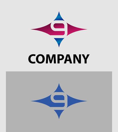 number nine: Number nine 9 icon logo template elements