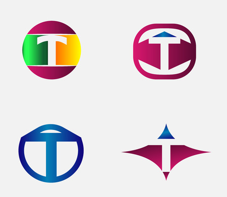 Vector alphabet Letter T Logo design element template