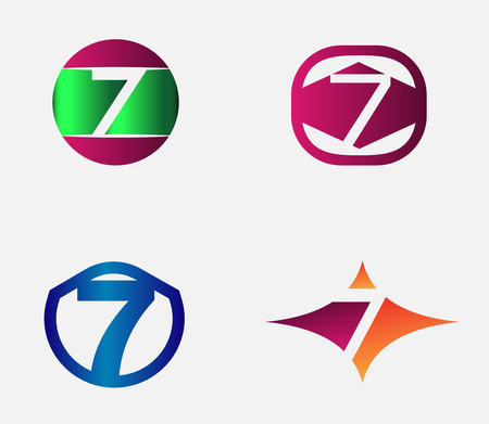 seven: Number seven logo template. Abstract icon Illustration