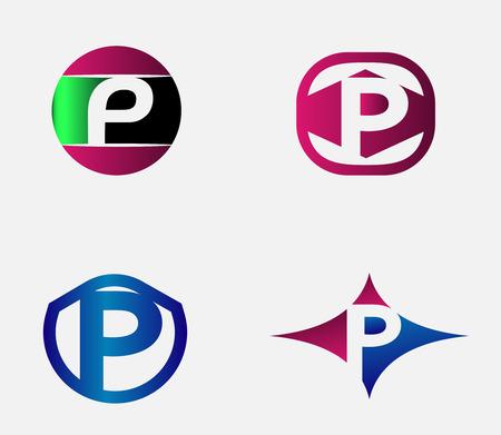 p buildings: Letter P logo. Alphabet vector design logotype.