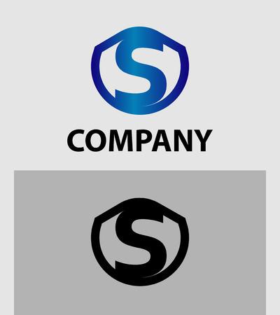 sch: Letter S logo. Alphabet vector design logotype