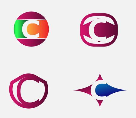 Lettre C modèle de logo. Résumé icône