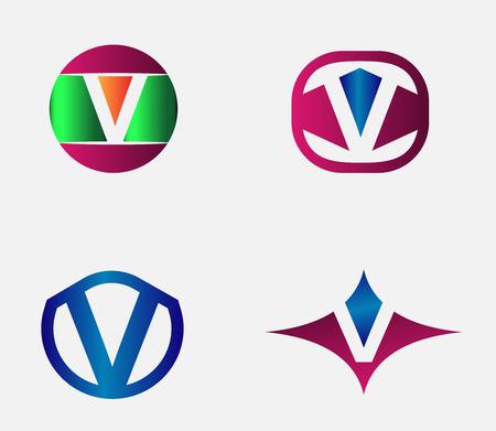 Vector alphabet Letter V Logo template design element