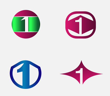 numbers abstract: 1 alphabet font symbol icon logo number abstract vector graphic