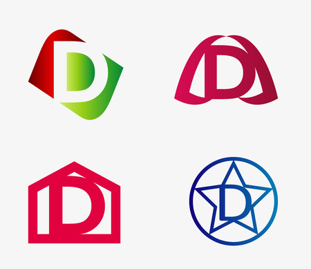 abstract letters: Vector set of abstract icons based on the letter d Illustration