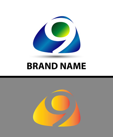 numero nueve: El n�mero nueve logotipo. logo 9