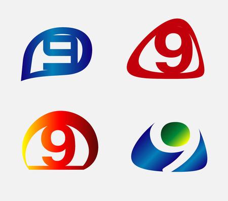numero nueve: Número nueve elementos insignia de la plantilla conjunto de iconos