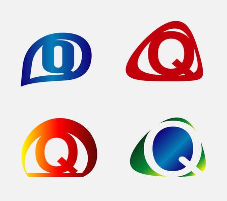 unusual: Unusual Letters Q Set Illustration