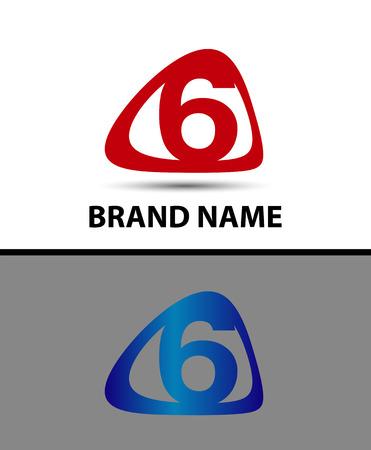 number 6: Vector logo sign number 6