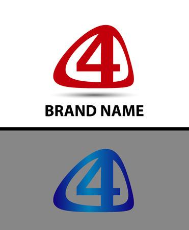 logo vector: Vector logo sign number four Illustration