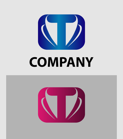 t square: Vector illustration of abstract icons based on the letter T logo