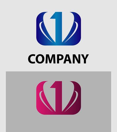 1: Abstract Number 1 logo Symbol Illustration