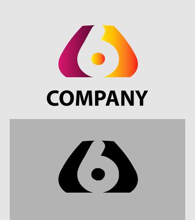 number 6: Number 6 logo. Vector logotype design
