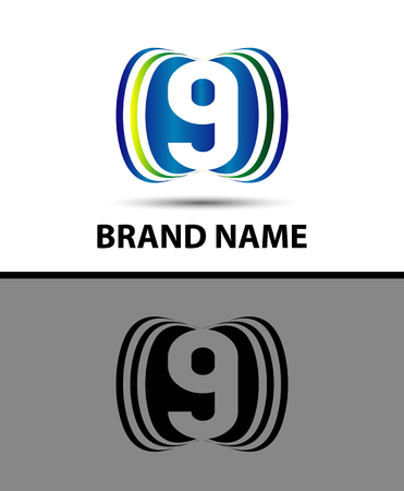 number nine: Number nine 9 design logo icon Illustration