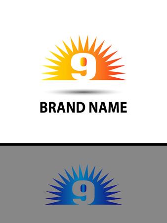 numero nueve: Número 9 nueve icono del logotipo de diseño