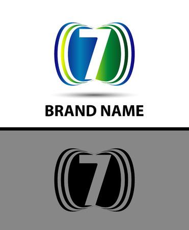 number seven: Number seven 7 logo icon Illustration