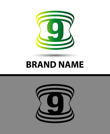 number nine: Number nine logo.Logo 9 vector template Illustration