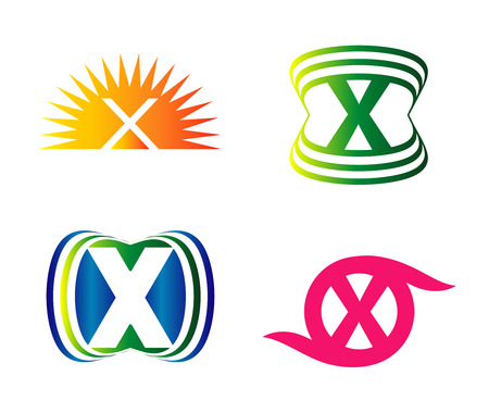 xy: Set of alphabet symbols of letter X, icons, vector Illustration