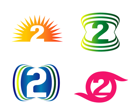 Abstract icons for number 2 logo Illustration