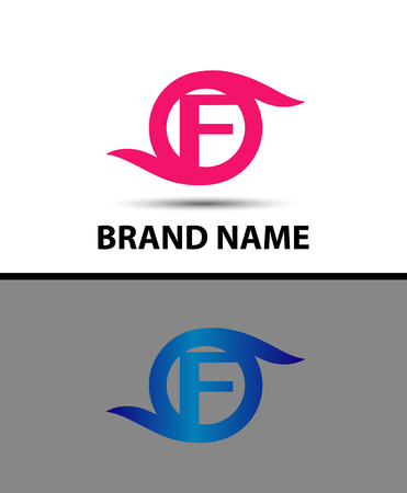 business software: Abstract letter F logo design icon