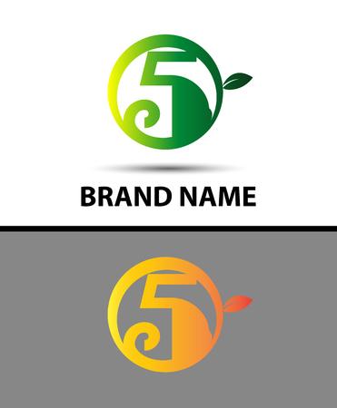number five: Eco number five sign Vector logo Illustration