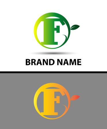 typesetter: Leaf icon Letter F Logo Illustration