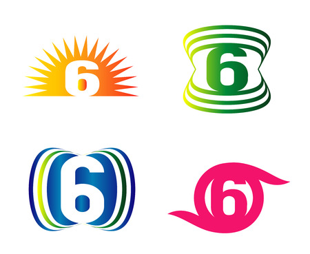 number six: Number six 6 logo icon