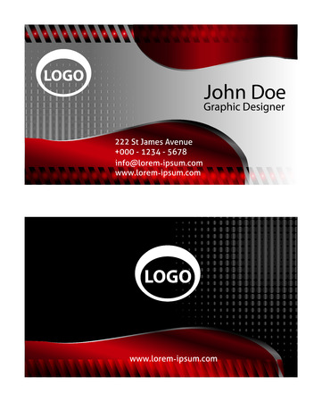 abstract waves: Red business card templates