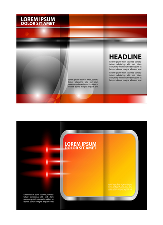 book spreads: Trifold brochure template empty vector design with orange color